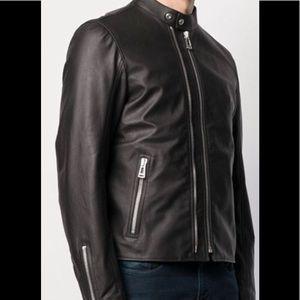 Belstaff Mens Double Zip Black Biker Jacket Sz 44